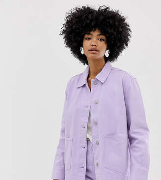 Weekday worker denim jacket in lilac