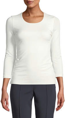 Akris Fitted 3/4-Sleeve Stretch-Jersey Top