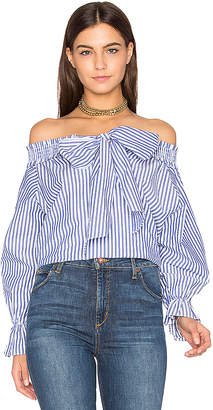 J.O.A. Off Shoulder Stripe Top in Blue $68 thestylecure.com