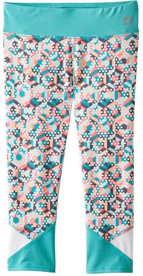 Girls 7-16 RBX Colorblock Waistband Printed Capri Leggings