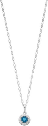 Lauren Conrad 10k White Gold Blue Topaz & Diamond Accent Halo Pendant Necklace