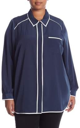Melissa McCarthy Pajama Button Down Blouse (Plus Size)