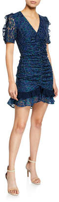 Elliatt Paradise V-Neck Short-Sleeve Ruched Lace Dress w/ Ruffle Trim
