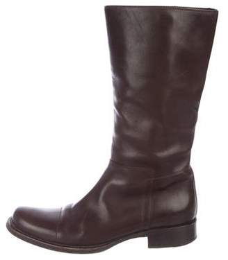 Prada Leather Round-Toe Boots