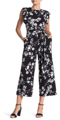 Calvin Klein Floral Print Ruffle Sleeve Jumpsuit
