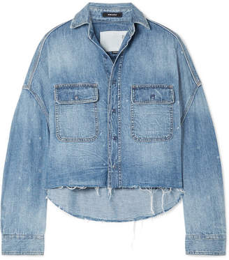 R 13 Oversized Cropped Distressed Denim Shirt - Mid denim