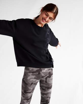 Express One Eleven Asymmetrical Lace-Up Sweatshirt