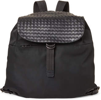 Bottega Veneta Black Leather Woven Backpack