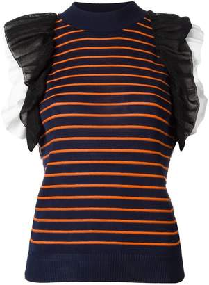 MSGM ruffled detail knitted tank