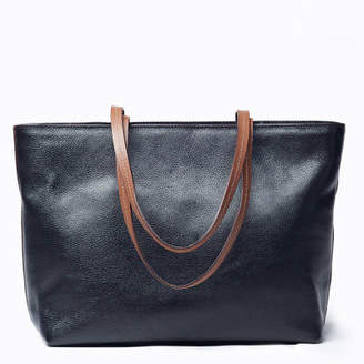 NEW Duet Black Leather Tote Bag For Women by VIVER Leather