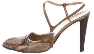 Prada Snakeskin Ankle-Strap Pumps