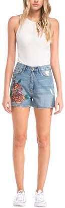 Blu Pepper Embroidered Denim Shorts