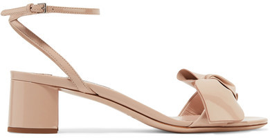 Miu Miu - Bow-embellished Patent-leather Sandals - Beige