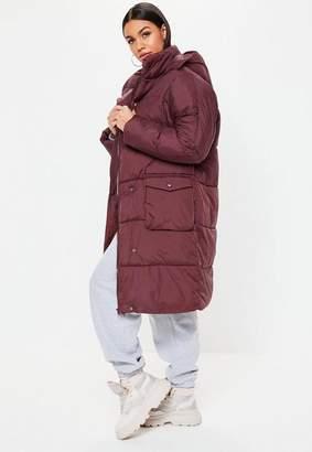 Missguided Wine Longline Puffer Jacket