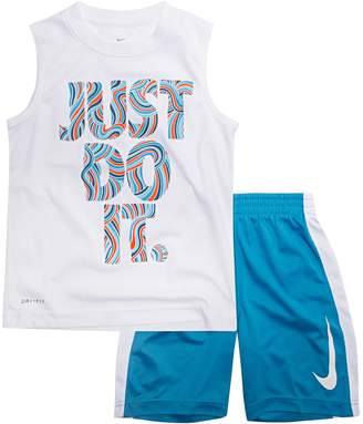 """Nike Baby Boy Just Do It."""" Doodles Muscle Tee & Shorts Set"""