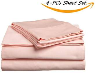 "Hotel Collection VGI Linen 100% Egyptian Cotton- Genuine 400 Thread Count Set of 4-Pieces Bed Sheet Set RV 28x75, (Pattern : Solid) with 21"" Inch Pockets Depth Fully Elasticized"