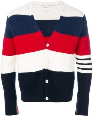 Thom Browne Rugby Stripe Wool V-Neck Cardigan