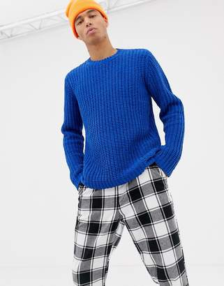 Asos DESIGN relaxed fit knitted chenille sweater in cobalt