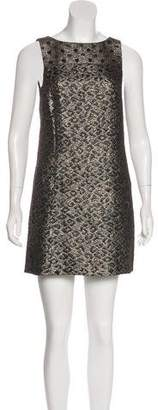Tibi Metallic Sleeveless Mini Dress