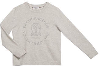 Brunello Cucinelli Boy's Be Courageous Graphic Cashmere Sweater, Size 4-6