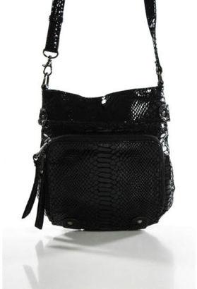 PERLINA Black Textured Animal Print Cross Body Handbag $29 thestylecure.com