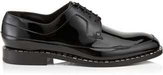 Jimmy Choo BENI Black Patent Leather Loafers with Crystal Trim