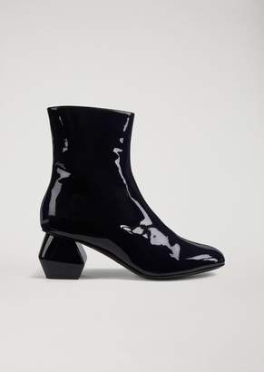 Emporio Armani Patent Leather Ankle Boot With Hexagonal Heel