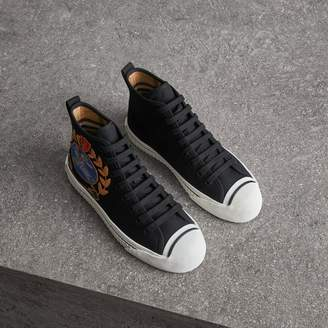 Burberry Embroidered Archive Logo High-top Sneakers