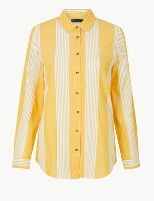 Marks and Spencer Pure Cotton Striped Button Detailed Shirt