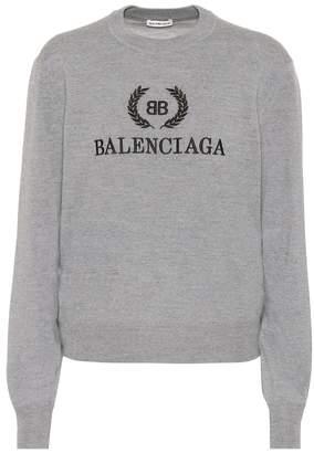 Balenciaga BB embroidered wool sweater