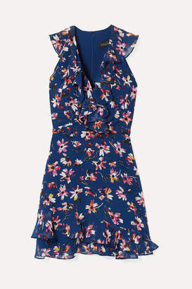 Saloni Cece Ruffled Floral-print Silk-chiffon Mini Dress - Navy