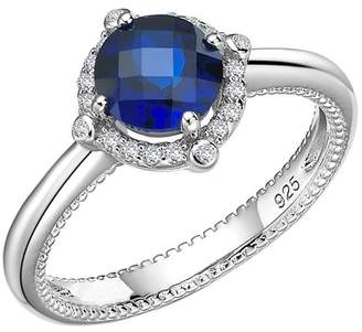 Lafonn Platinum Plated Sterling Silver Simulated Diamond & Lab-Grown Blue Sapphire Ring