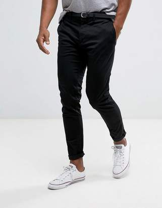 Pull&Bear Skinny Chinos With Belt In Black