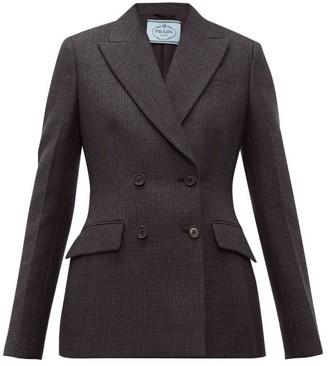 Prada Double Breasted Wool Blend Jacket - Womens - Dark Grey