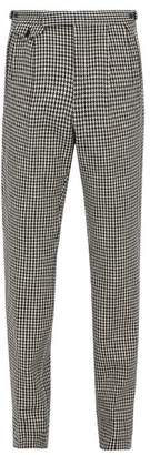 Gucci Straight Leg Houndstooth Wool Blend Trousers - Mens - Black White