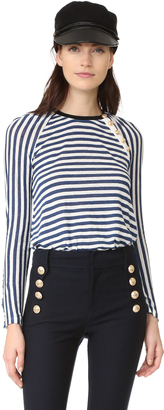 Derek Lam 10 Crosby Long Sleeve Tee with Button Detail $245 thestylecure.com