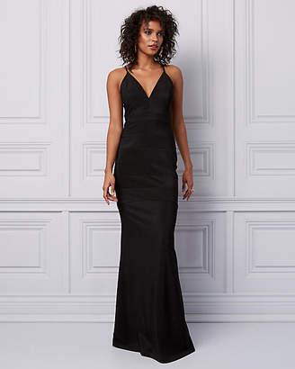 Le Château Knit & Lace Cutout Back Gown