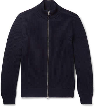 Dunhill Leather-Trimmed Ribbed Wool Zip-Up Cardigan