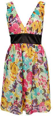 Painted Floral Chiffon Dress