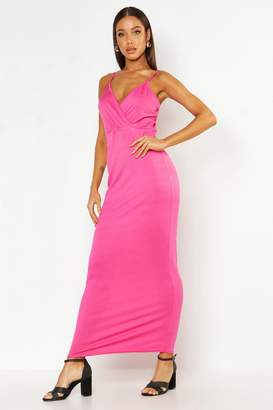 boohoo Wrap Front Maxi Dress