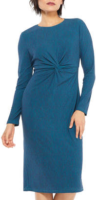 Maggy London Knot-Front Long-Sleeve Space-dye Jersey Midi Dress