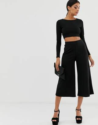 Asos Design DESIGN cropped black wide leg trousers in jersey crepe