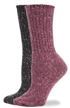 Hue Two-Pack Tweed Rib Boot Socks