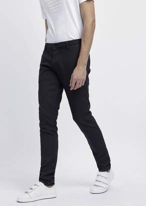 Emporio Armani Slim-Fit Chino Pants In Yarn-Dyed And Over-Dyed Gabardine