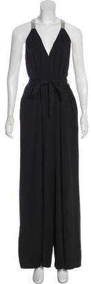 Halston V-Neck Wide-Leg Jumpsuit