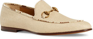 Gucci Men's New Jordaan Raffia Loafers with Snakeskin Trim