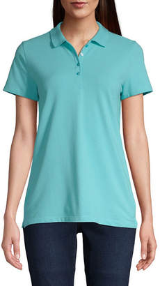 ST. JOHN'S BAY Womens Short Sleeve Knit Polo Shirt