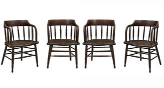 Rejuvenation Set of 4 Dark Stained Low-Back Windsor Chairs