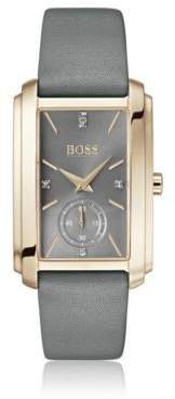 BOSS Hugo Carnation-gold-plated rectangular watch gray leather strap One Size Assorted-Pre-Pack