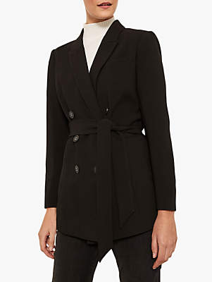 Mint Velvet Double Breasted Belted Blazer, Black